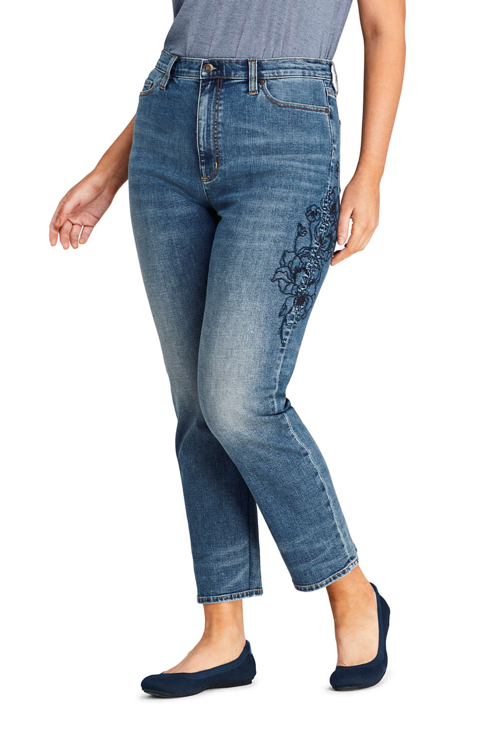 336549ab35d Women s Plus Size High Rise Stove Pipe Ankle Jeans from Lands  End
