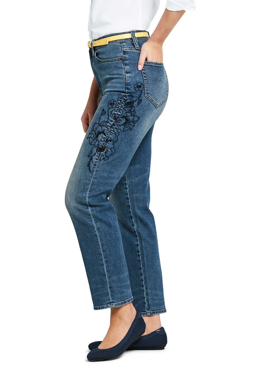 792cdeba73 Women's High Rise Stove Pipe Ankle Jeans from Lands' End