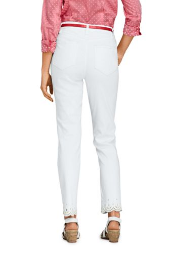 Women's High Rise Slim Straight Leg Ankle Jeans - Embroidered