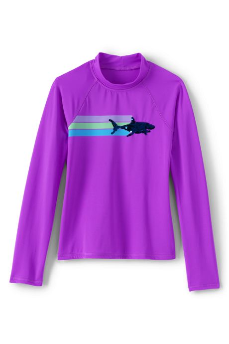 Girls Sequin Graphic Rash Guard