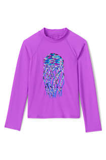 Girls Sequin Graphic UPF 50 Sun Protection Rash Guard, Front