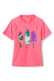 Girls Slim Sequin Graphic Mock Neck UPF 50 Sun Protection Rash Guard