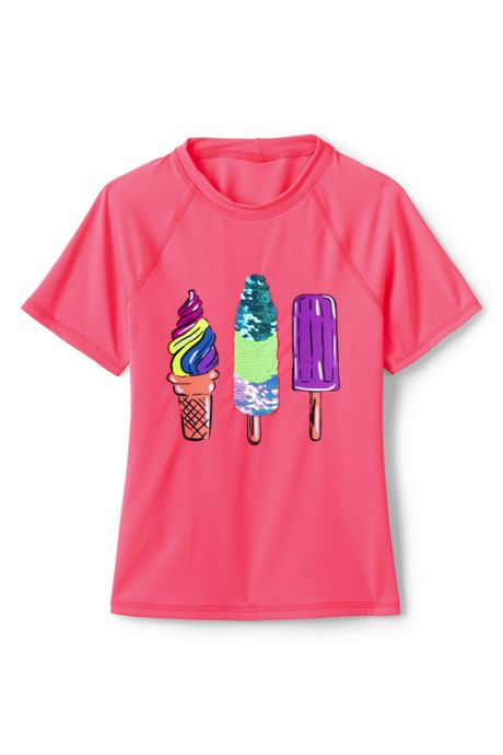 Little Girl Sequin Graphic Mock Neck UPF 50 Sun Protection Rash Guard
