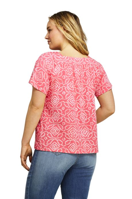 Women's Plus Size Print Short Sleeve Square Neck Top