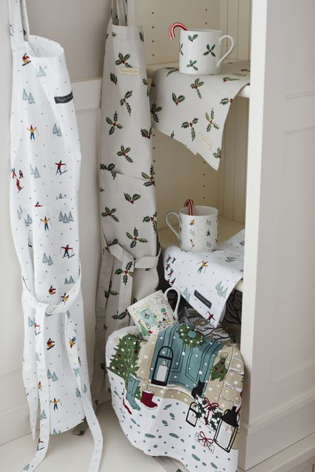 Christmas Skiing Cotton Apron by Sophie Allport