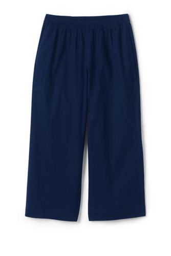 Women's Wide Leg Stretch Linen Mix Cropped Trousers