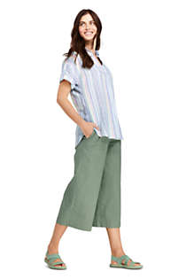 Women's Petite Wide Leg Crop Linen Blend Pants, alternative image