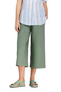 Women's Petite Wide Leg Crop Linen Blend Pants, Front