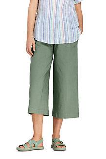 Women's Wide Leg Stretch Linen Mix Cropped Trousers