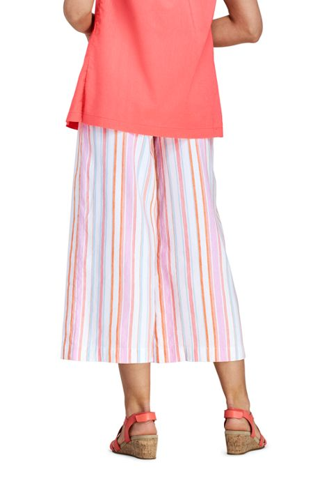 Women's Stripe Wide Leg Crop Linen Blend Pants