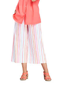 Women's Petite Stripe Wide Leg Crop Linen Blend Pants