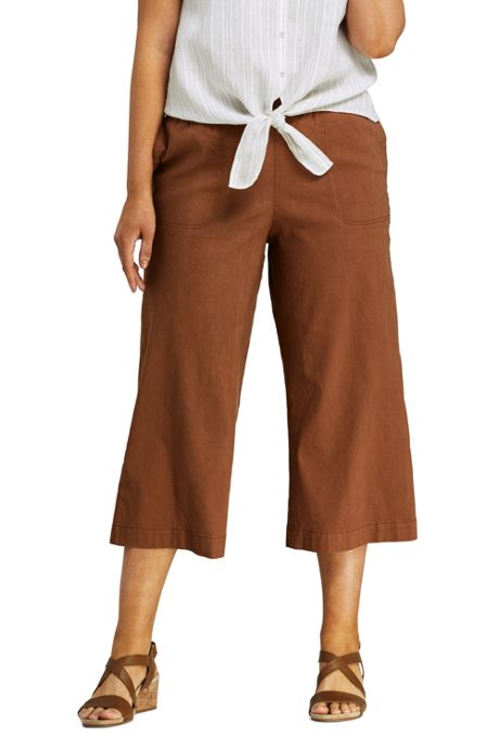 Women's Plus Size Wide Leg Crop Linen Blend Pants