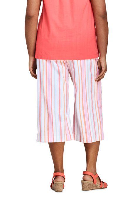 Women's Plus Size Stripe Wide Leg Crop Linen Blend Pants