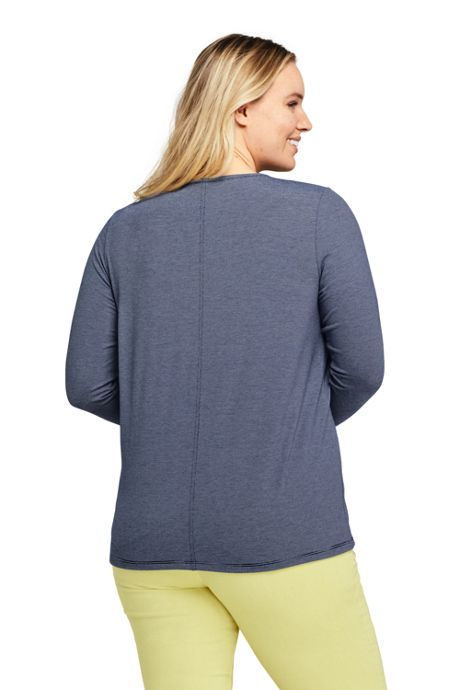 Women's Plus Size Long Sleeve UPF Wicking T-shirt - Stripe