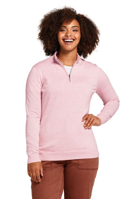 Women's Plus Size Long Sleeve Supima Quarter Zip Sweater