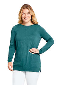 Women's Plus Size Long Sleeve Supima Boatneck Tunic Sweater