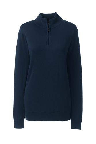 Women's Petite Half Zip Jumper in Supima Cotton