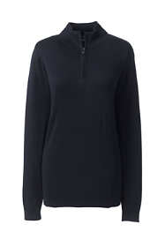 Women's Petite Long Sleeve Supima Quarter Zip Sweater