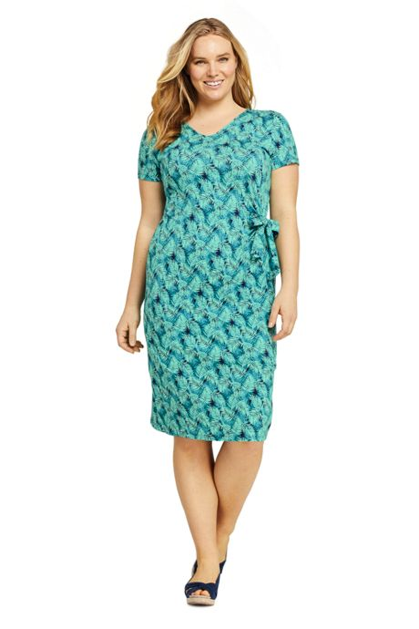 Women's Plus Size Short Sleeve Knit V-neck Print Knot T-shirt Dress
