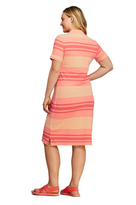 Women's Plus Size Short Sleeve Print Mesh Polo Dress