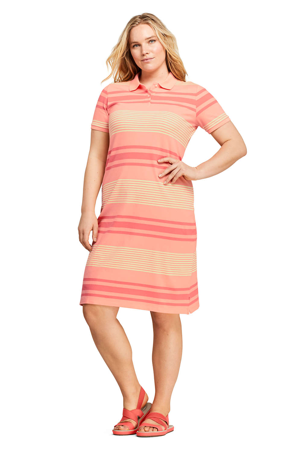 Women\'s Plus Size Short Sleeve Print Mesh Polo Dress from Lands\' End