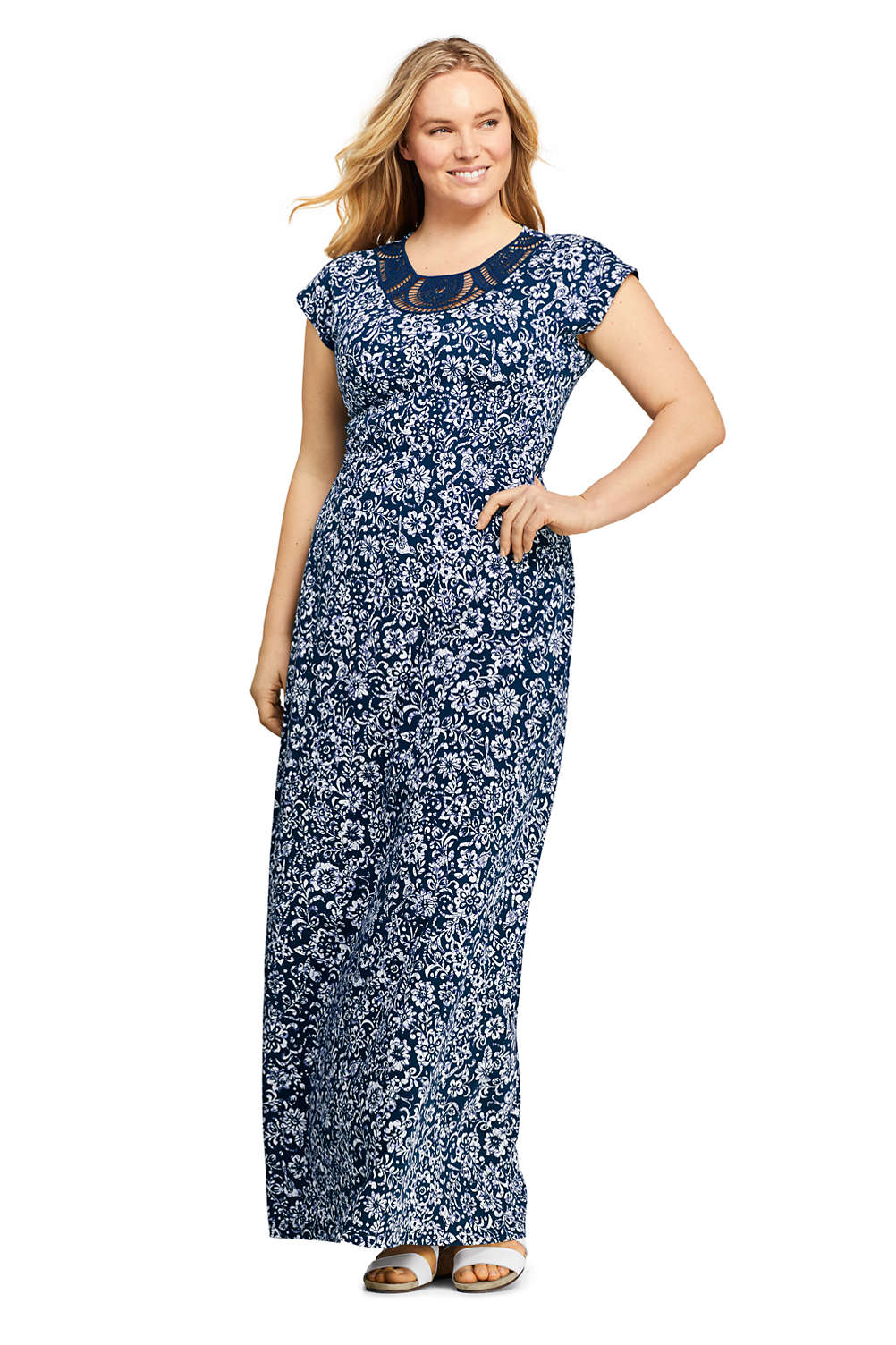 Women\'s Plus Size Short Sleeve Knit Crochet Neck Print Maxi Dress