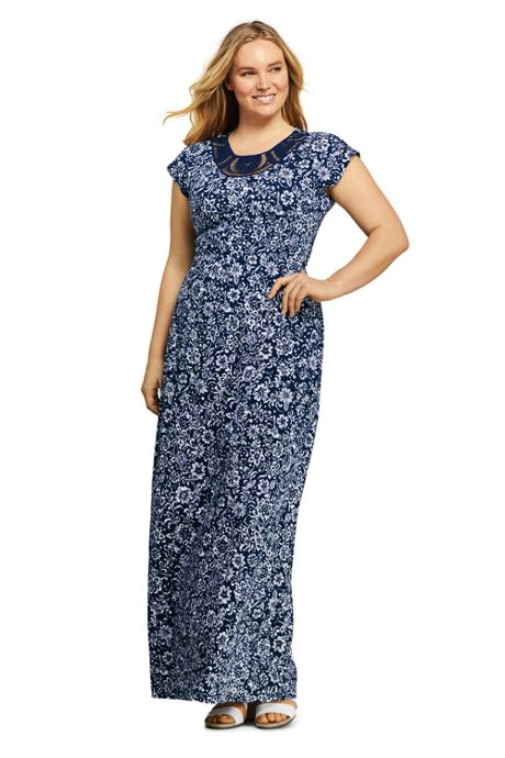 Women's Plus Size Short Sleeve Knit Crochet Neck Print Maxi Dress