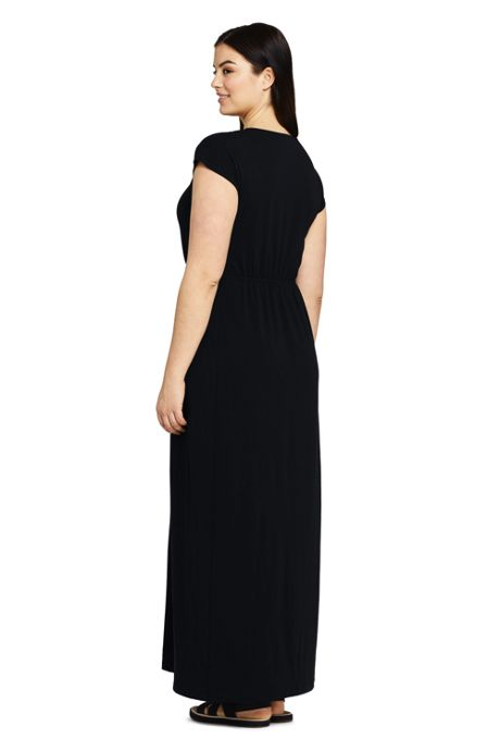 Women's Plus Size Short Sleeve Knit Crochet Neck Maxi Dress