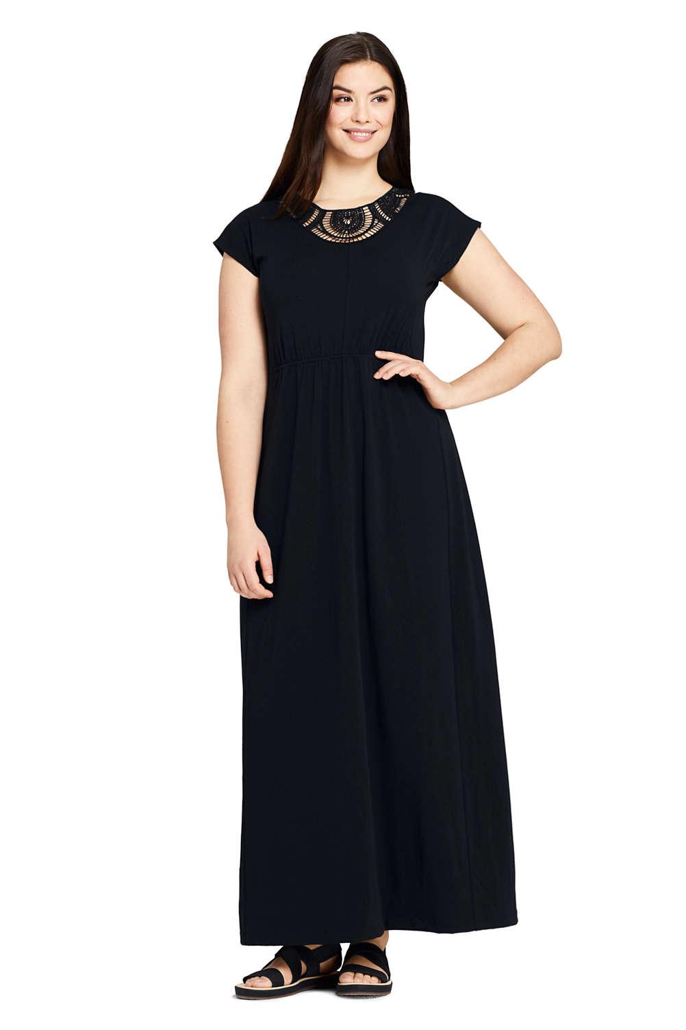 7e7b17b15 Women's Plus Size Short Sleeve Knit Crochet Neck Maxi Dress from Lands' End