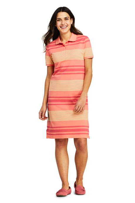 Women's Petite Short Sleeve Print Mesh Polo Dress