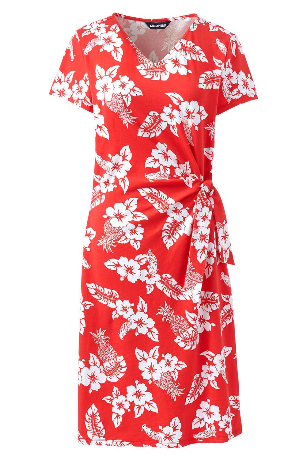 Women\'s Plus Size Short Sleeve Knit V-neck Print Knot T-shirt Dress