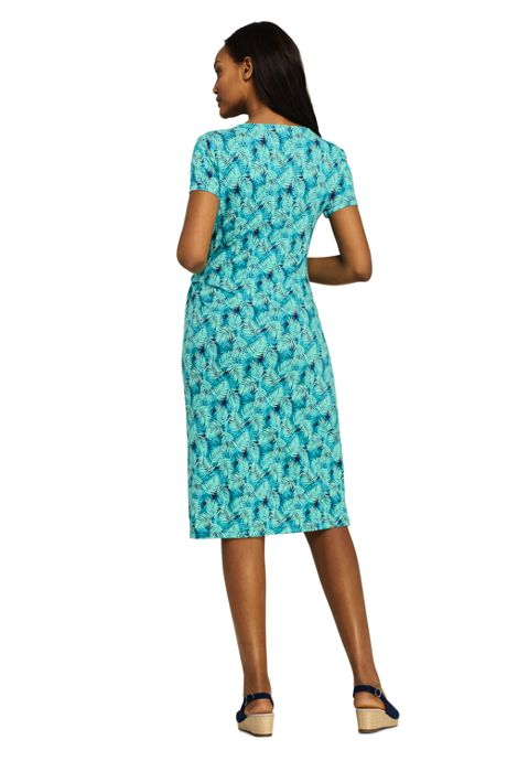 Women's Petite Print Knit V-neck Short Sleeve Knot T-Shirt Dress