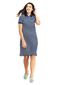 Women's Tall Short Sleeve Stripe Mesh Polo Dress