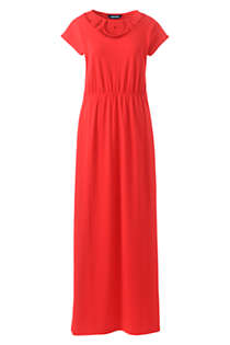 Women's Short Sleeve Knit Crochet Neck Maxi Dress, Front