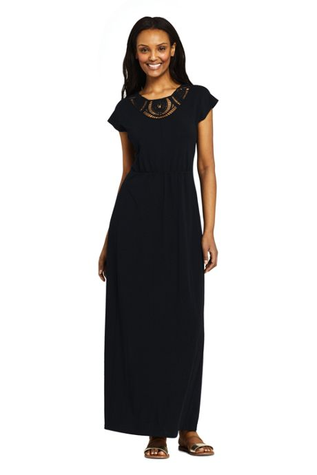 Women's Petite Short Sleeve Knit Crochet Neck Maxi Dress