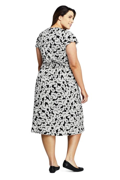 Women's Plus Size Flutter Short Sleeve Print Smocked Waist Dress