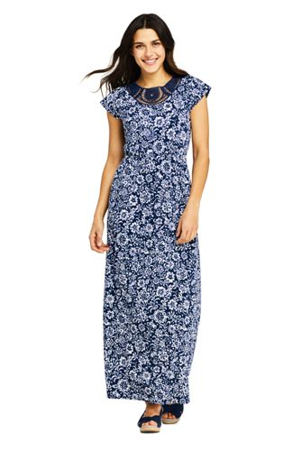 Women's Petite Lace Detail Patterned Maxi Dress