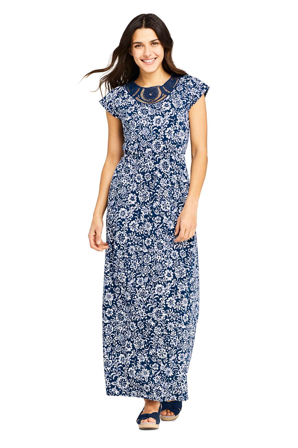 ad77afeefb Women's Short Sleeve Knit Crochet Neck Print Maxi Dress from Lands' End