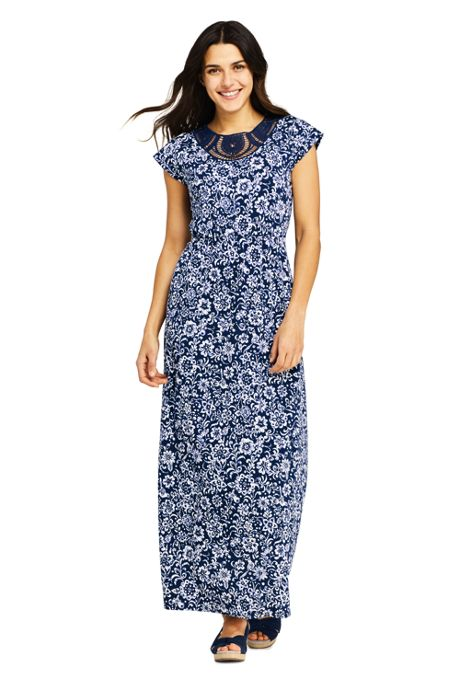 Women's Petite Short Sleeve Knit Crochet Neck Print Maxi Dress