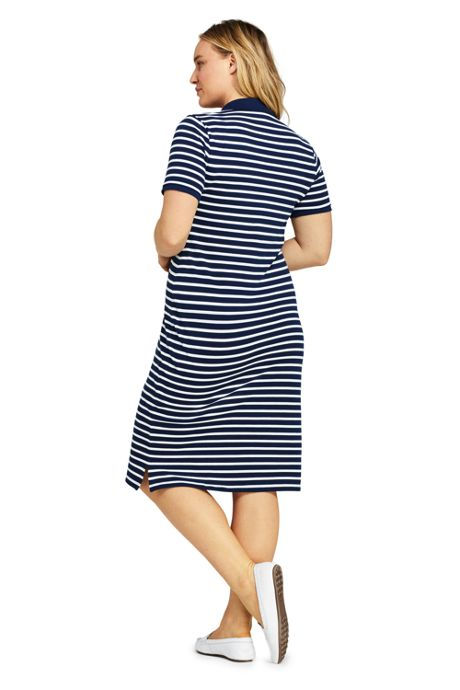 Women's Plus Size Short Sleeve Stripe Mesh Polo Dress