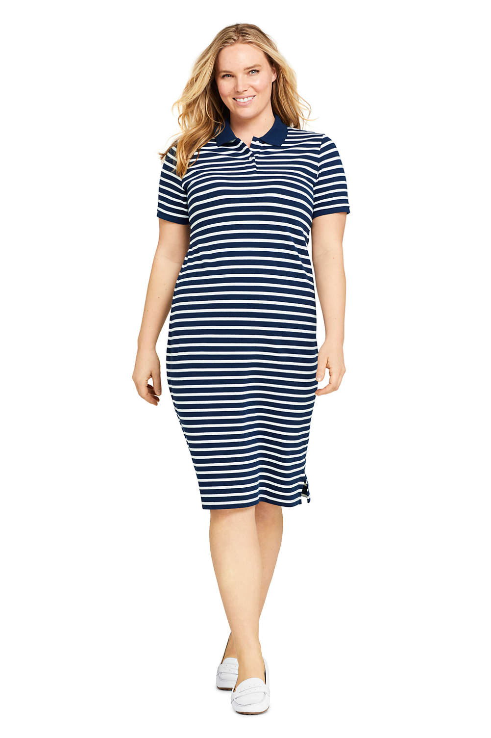 Women\'s Plus Size Short Sleeve Stripe Mesh Polo Dress from Lands\' End