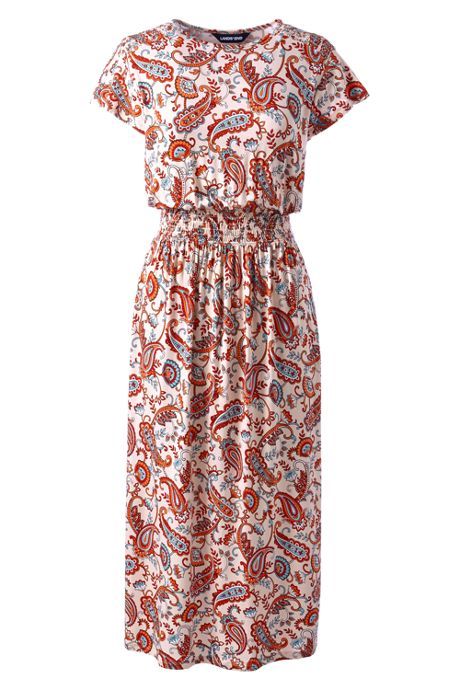 Women's Petite Flutter Short Sleeve Print Smocked Waist Dress