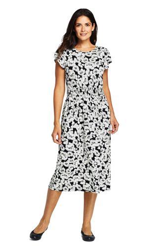 Robe en Jersey Taille Smocks, Femme Stature Standard