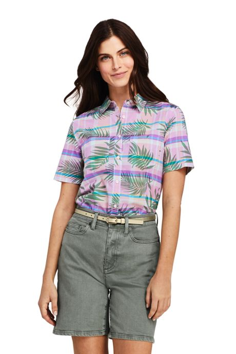 Women's Petite Casual Button Front Madras Shirt