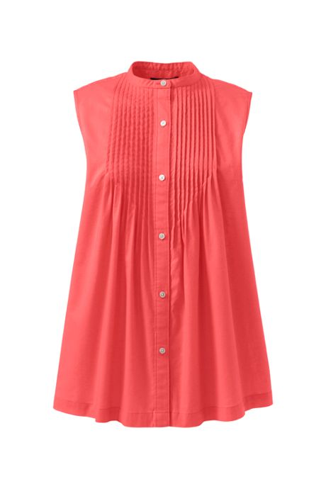 Women's Plus Size Cotton Linen Sleeveless Pintuck Shirt