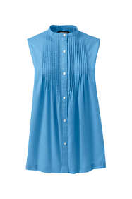 Women's Cotton Linen Sleeveless Pintuck Shirt