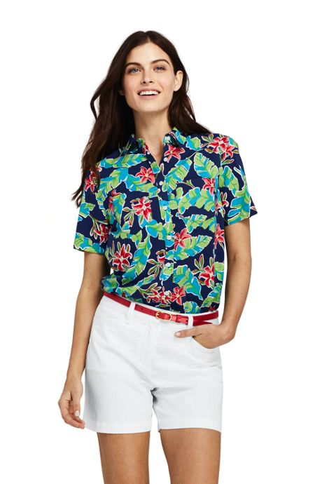 Women's Petite Casual Button Front Print Shirt