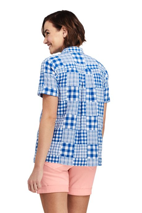 Women's Petite Casual Button Front Patchwork Shirt