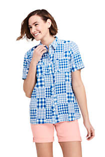 Women's Casual Button Front Patchwork Shirt, Front
