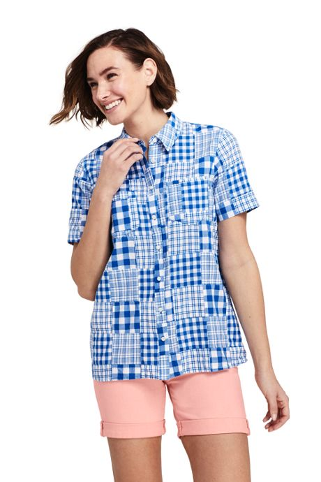 Women's Tall Casual Button Front Patchwork Shirt